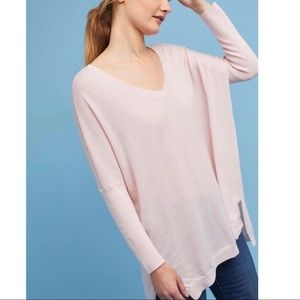 Anthropologie Moth Clare V-Neck Pink Wool Sweater